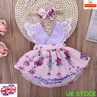 UK Kids Girl Baby Floral Lace Dress Outfit Set Party Bridesmaid Dresses Clothes