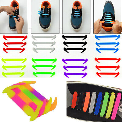 Easy No Tie Elastic Shoe Lace Solid Silicone Trainers Shoes Sneakers Shoelaces