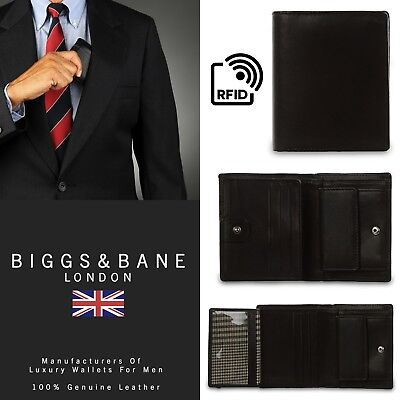 New Rfid Mens Black Genuine Soft Leather Trifold Luxury Wallet Card Holder
