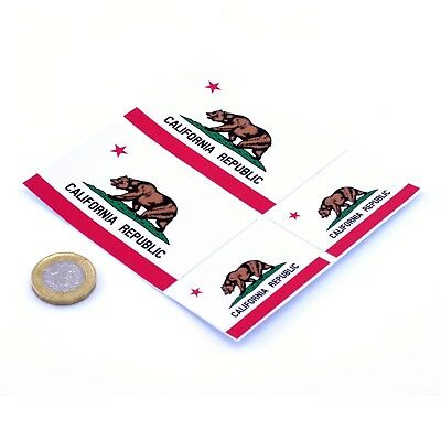 """California State Flag Stickers x4 3"""" & 2"""" USA Car Vinyl Rally Window Decals"""