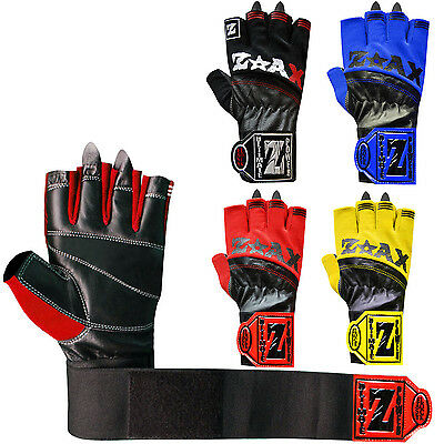 Weight Lifting Gloves Leather Body Building Gym Exercise Gloves Long Strap Adult