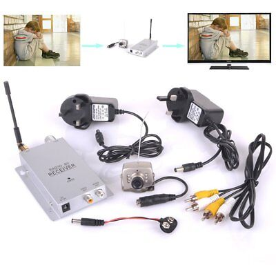 Wireless CCTV Camera 2.4GHz Receiver Day-Night Vision Silver Monitoring AC Power