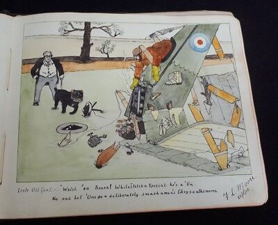 Antique Sketch Verse Album c1914-19 WWI Watercolours Pen & Ink Doncaster