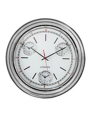 Retro Silver with White Face Metal Multi Dial Wall Clock Time Zone Metal 50cm