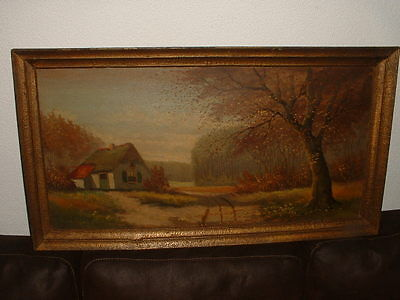 Old oil painting,{ Cottage near the woods, cute frame, is antique! }.