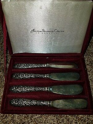 American Silversmiths Collection By Godinger Silverplate Floral Spreader Knives