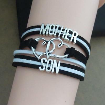 Black Mother and Son Bracelet Wristbands Heat Birthday Gifts for Mom Mother Day