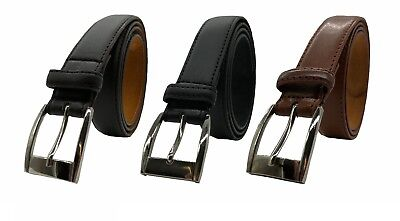 "Leather Belt 100% Mens Real Brown XL-XXL 1"" Polished Buckle Forest Belts Thick"