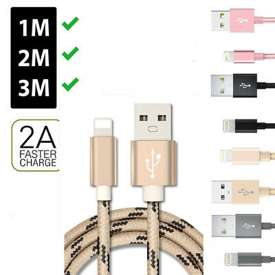 1M /2M /3M USB Nylon Cord Cable Charger for Apple iPhone X 8 7 6 Plus All iPad