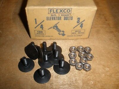 """1/4"""" X 3/4"""" Flexco Elevator Bolts & Hex Nuts Vintage New Very Old Stock (Qty.10)"""