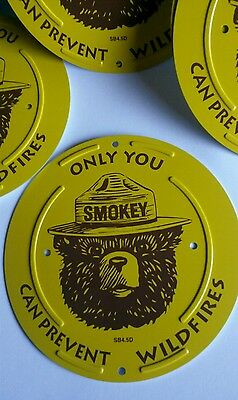 """A Round Smokey Bear Boundary Marker """" Only You Can Prevent Wildfires """""""