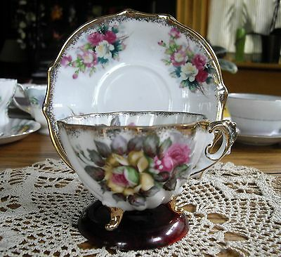 Vintage Napco Japan Tea Cup + Saucer ~ Hand Painted Roses w/ Gold Accents ~