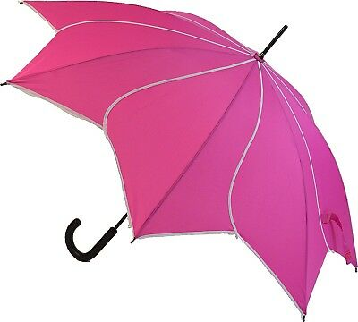 Blooming Brollies Swirl Auto Stick Umbrella - Bright Pink
