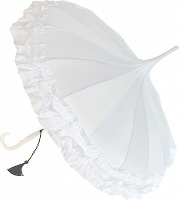 Blooming Brollies Boutique Classic Frilled Pagoda Stick Umbrella - White with Bl