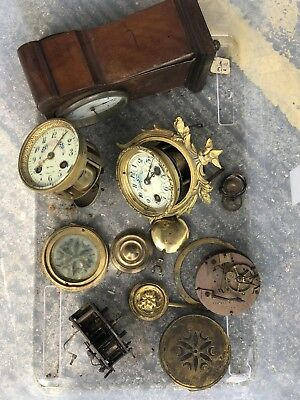 Antique Clock faces with,Brass,Mechanism,Large,Parts,Clockmaker,Old And Wooden