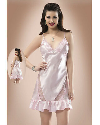 Women Pale Pink Satin and Lace Chemise  Babydoll