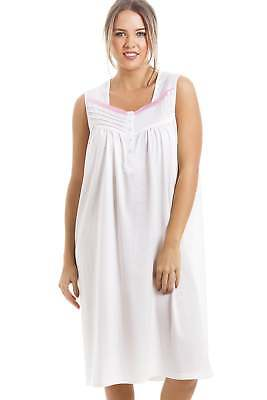Camille Soft Knee confortable longueur sans manches rose Polka Dot Nightdress