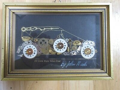 Framed 1910 Rolls Royce 'Silver Ghost' collectible collage John Nash clock parts