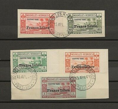 """NEW HEBRIDES (FRENCH) 1941 SG FD77/81 """" First Day of Issue"""" USED Cat £200"""