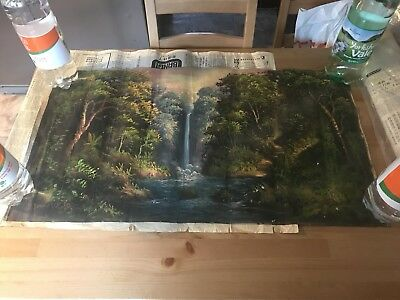 Antique Chinese Oil On Canvas Painting Victorian? Read Description Attic Find