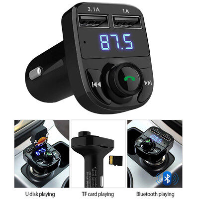 Wireless Bluetooth Car Mic FM Transmitter MP3 Player Dual USB Charger Handsfree
