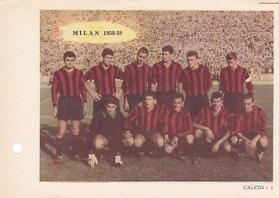 Calcio/football MILAN 1958-'59 inserto in cartoncino Sport Napoli originale