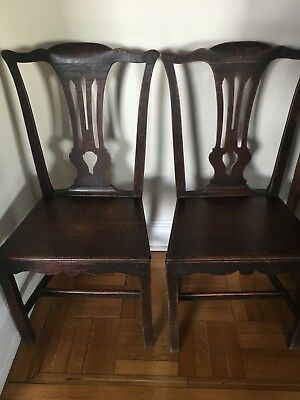 Superb Pair of George III Antique Oak Country Chippendale Dining Chairs