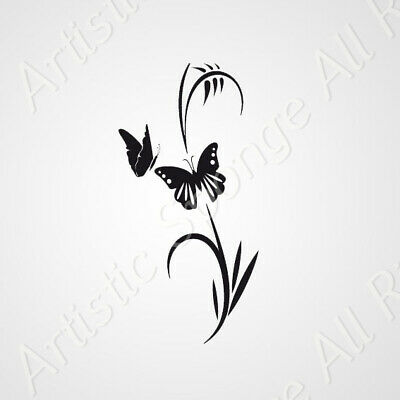 Flower & Butterfly BIG SIZES Reusable Stencil Wall Decor Art Shabby Chic / F4