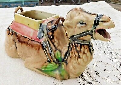 VINTAGE 1950's HAND PAINTED CERAMIC ADORABLE CAMEL PLANTER (TEA POT) - JAPAN