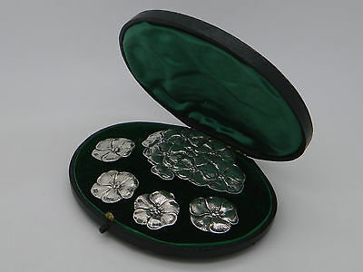 Cased Set of Edwardian Solid Silver Floral Belt Buckle & Buttons 1905 London