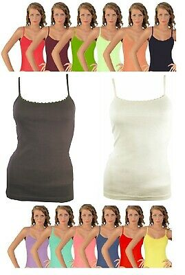 WOMENS LADIES PLAIN COLOURS 100% COTTON STRAPPY VEST TOP TANK SIZE 8 to 20 NEW
