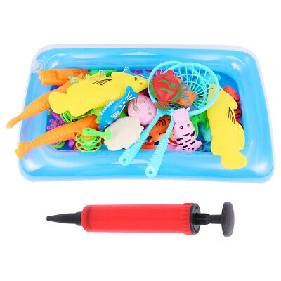Kids Wooden Double Sided Magnetic Fishing Toys Set + 32pcs various sea animals