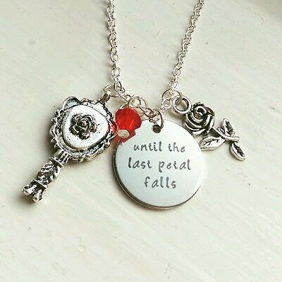 Beauty and the Beast Necklace Until The Last Petal Falls Disney inspired Belle