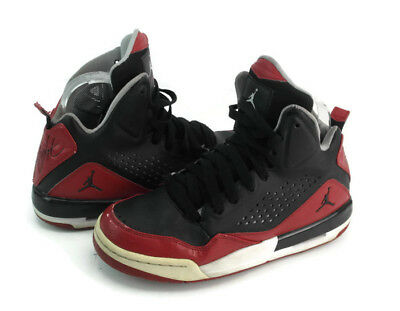 9ecbb02cde6900 Jordan Flights Boy s Youth Black  Red Lace Up Ankle High Athletic Shoes Size  6