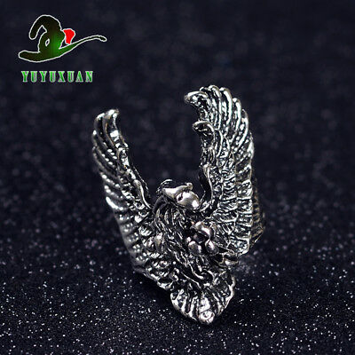 Tibetan Silver Ring Carved Animal Eagle J2144 A1