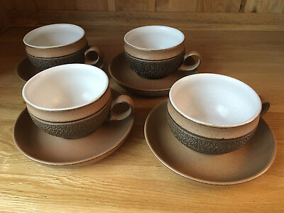 Set Of 4 Denby Cotswold Cups With Saucers