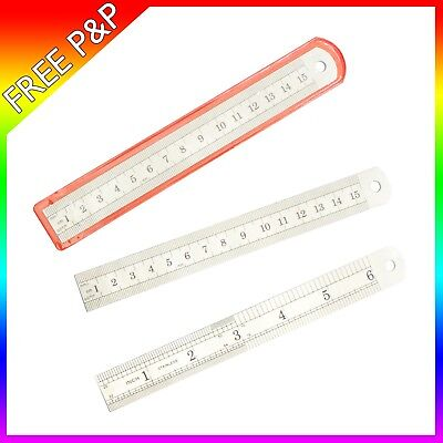 "6"" inch 15cm 150mm Precision Stainless Steel Ruler Metal Rule Metric Imperial"