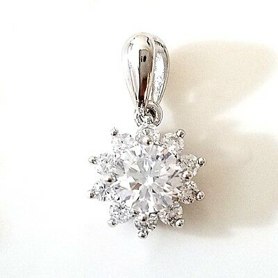 2 Ct Round Solitaire Diamond Pendant Charm SOLID 14k White Gold Women Jewelry