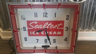 "Antique Sealtest Ice Cream Neon Clock Sign ""original"""