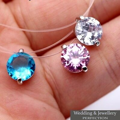 Women Necklace Invisible Chain Choker Pendant Jewelry Crystal Rhinestone Charm