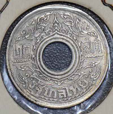 Thailand 1942 20 Satang silver AU Siam T0044 combine shipping