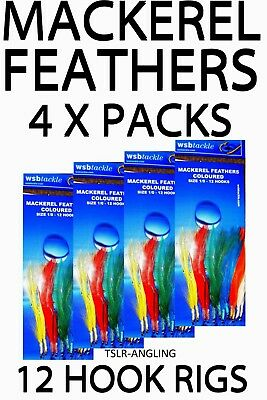 4 x PACKS OF COLOURED 12 HOOK MACKEREL FEATHERS - SEA FISHING TACKLE LURES RIGS