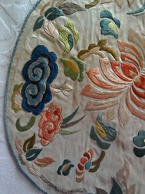 Antique Chinese Oriental Floral Circular Hand Embroidered Silk Panel Rank Badge