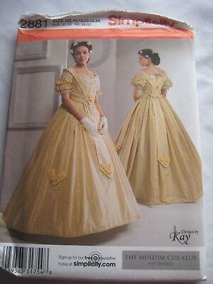 COSTUME SEWING PATTERN: Simplicity 2881 VICTORIAN BALL GOWN SIZE 16 ...