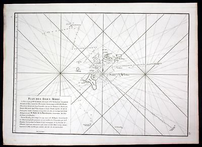 1775 Mahe Island Seychelles Indian Ocean sea map Mannevillette Neptune Oriental