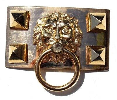 Vtg LION Head  Face Door Knocker Hollywood Regency Glam Belt Buckle HARDWARE