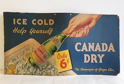 Vintage Canada Dry Pale Ginger Ale Soda Pop 6 Ounces Cardboard 6 Cent Sign 1920s