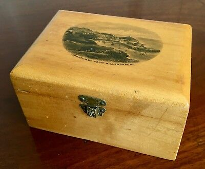A Victorian Mauchline Ware Wooden Box, Printed With Hillsborough, c.1900.