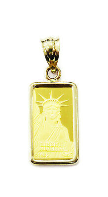 1 gram 24K Gold Credit Suisse Statue of Liberty Bar Necklace Charm Pendant ~ LLF