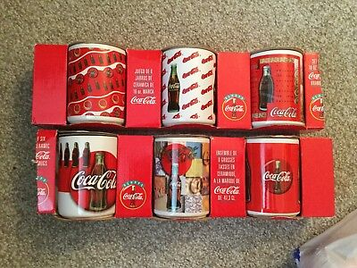 Coca Cola Oversized Coffee Mugs Set of 6 NEW in the Box 1996